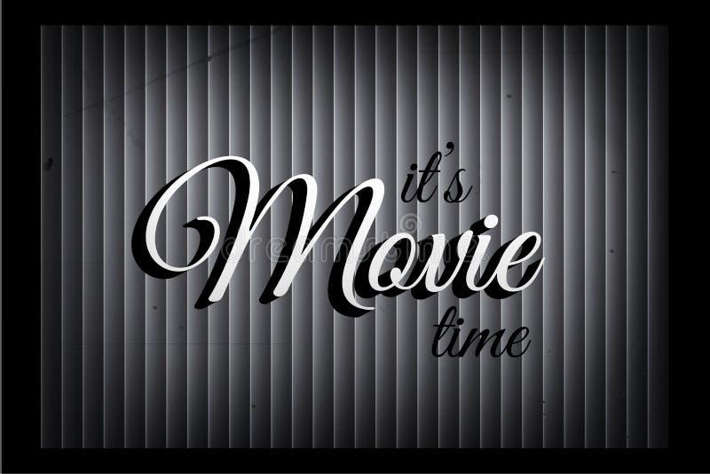Het is de bannermalplaatje van de filmtijd in stille filmstijl Vectorfilmteken op monochromatische gordijnachtergrond vector illustratie