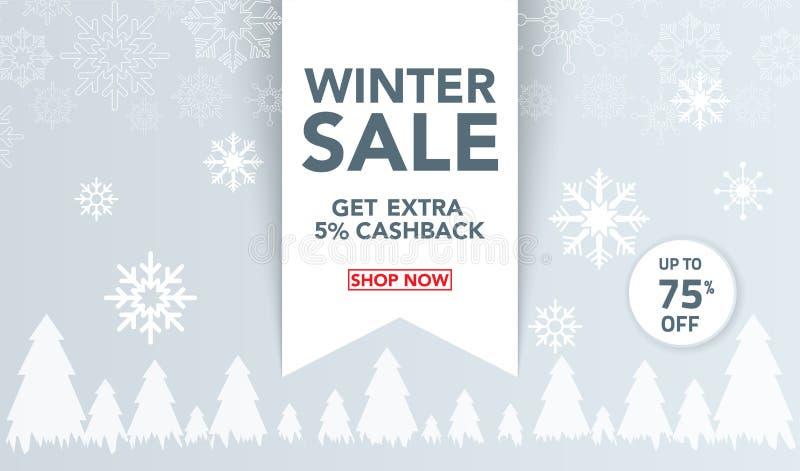 Het de bannermalplaatje van de de winterverkoop met sneeuw schilfert, ijsscherven voor het winkelen verkoop af Bannerontwerp Affi vector illustratie