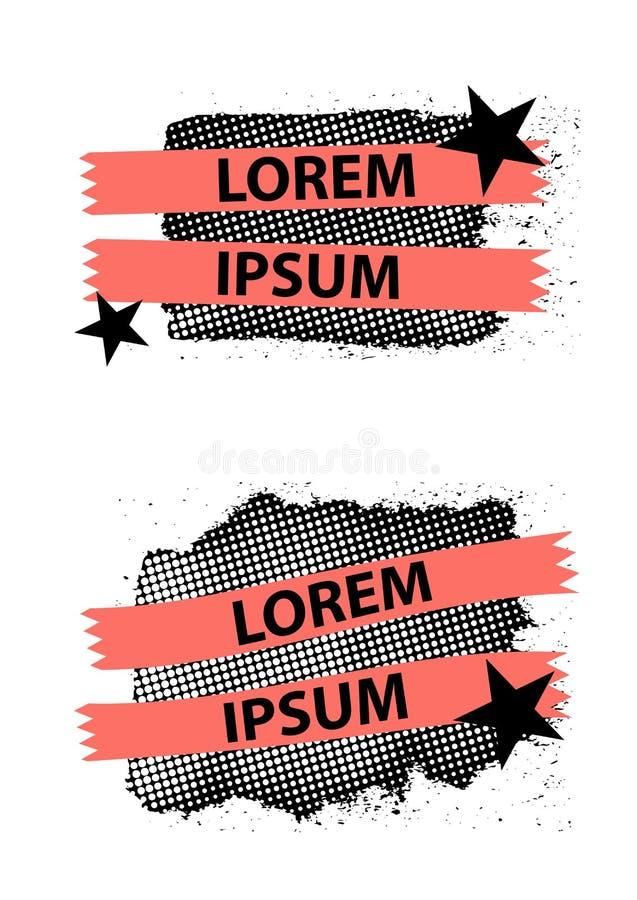 Het de bannerontwerp van de pop-artstijl met linten, sterren en halftone effect, grunge golft vlekken, vector de bannerontwerp va stock illustratie