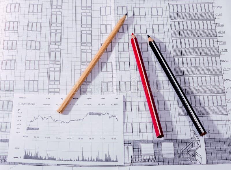 Het de bouwplan, potlood stock foto's