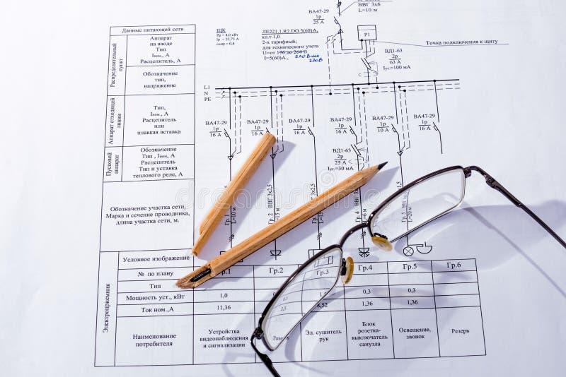 Het de bouwplan, potlood royalty-vrije stock afbeeldingen