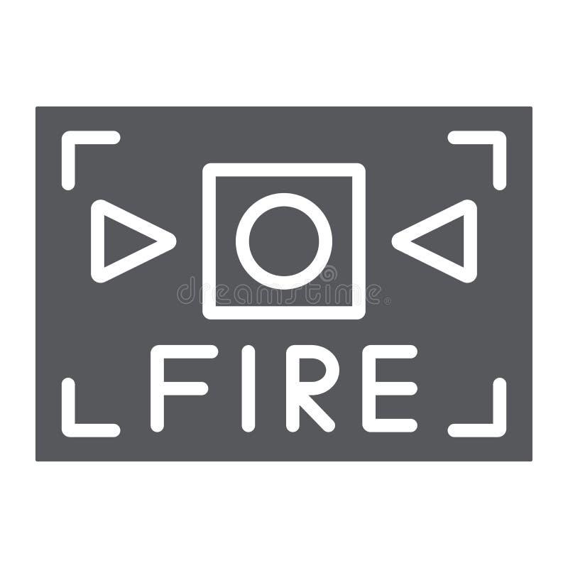 Het de het brandalarm glyph pictogram, veiligheid en materiaal, steken waakzaam teken, vectorafbeeldingen, een stevig patroon op  stock illustratie