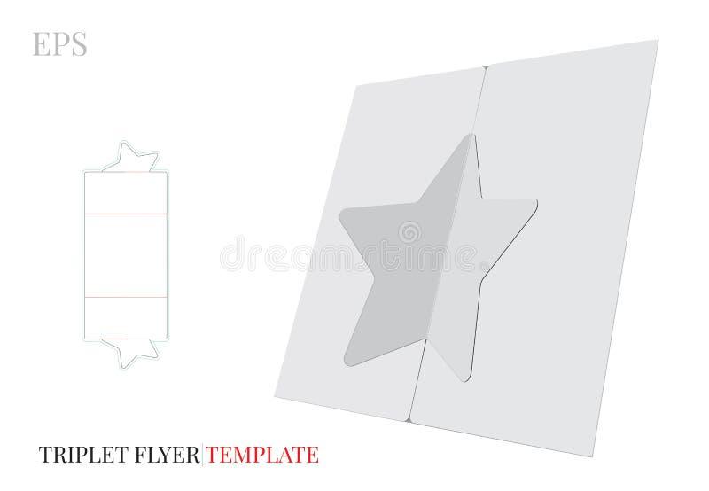 Het de Brochuremalplaatje van de Trifoldster, Vector met matrijs sneed/van de laserbesnoeiing lijnen Witte, lege, duidelijke, geï vector illustratie