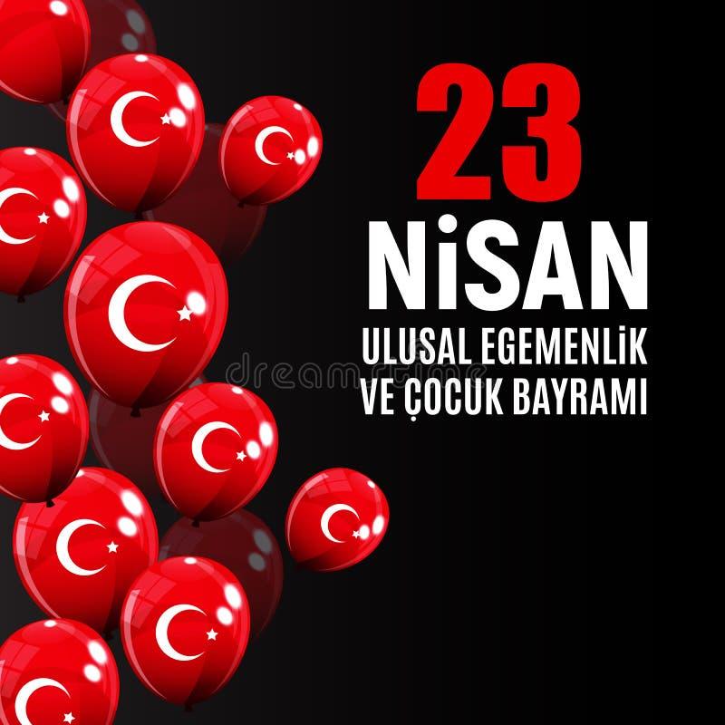 23 het de dagturks van April Children ` s spreekt: 23 Nisan Cumhuriyet Bayrami Vector illustratie vector illustratie
