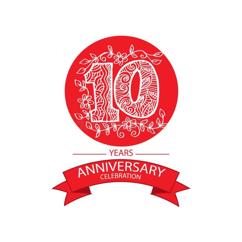 het 10de embleem van de verjaardagsviering vector illustratie