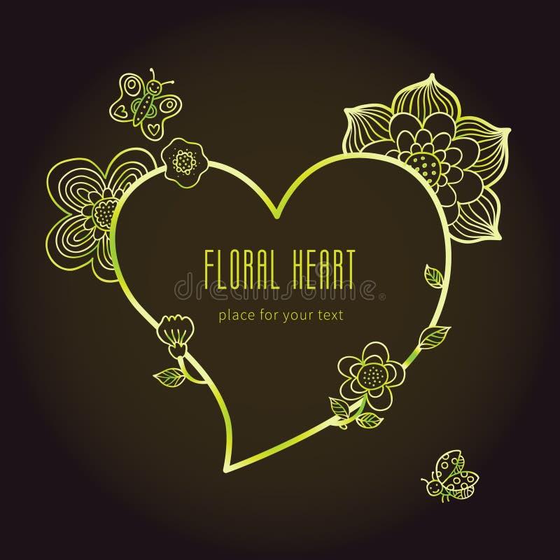 Het de fijne bloemen en kader van de lijnkunst in vorm van hart royalty-vrije illustratie