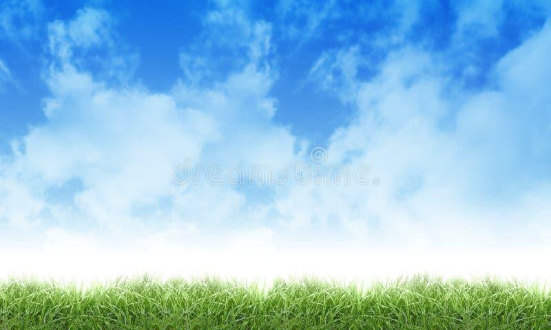 Het de groene Wolken en Gras van de Hemel van de Aard Eco royalty-vrije stock afbeeldingen
