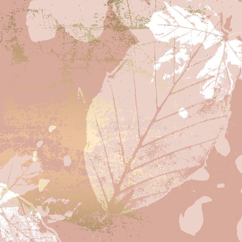 Het de herfstgebladerte nam goud bloost achtergrond toe stock illustratie