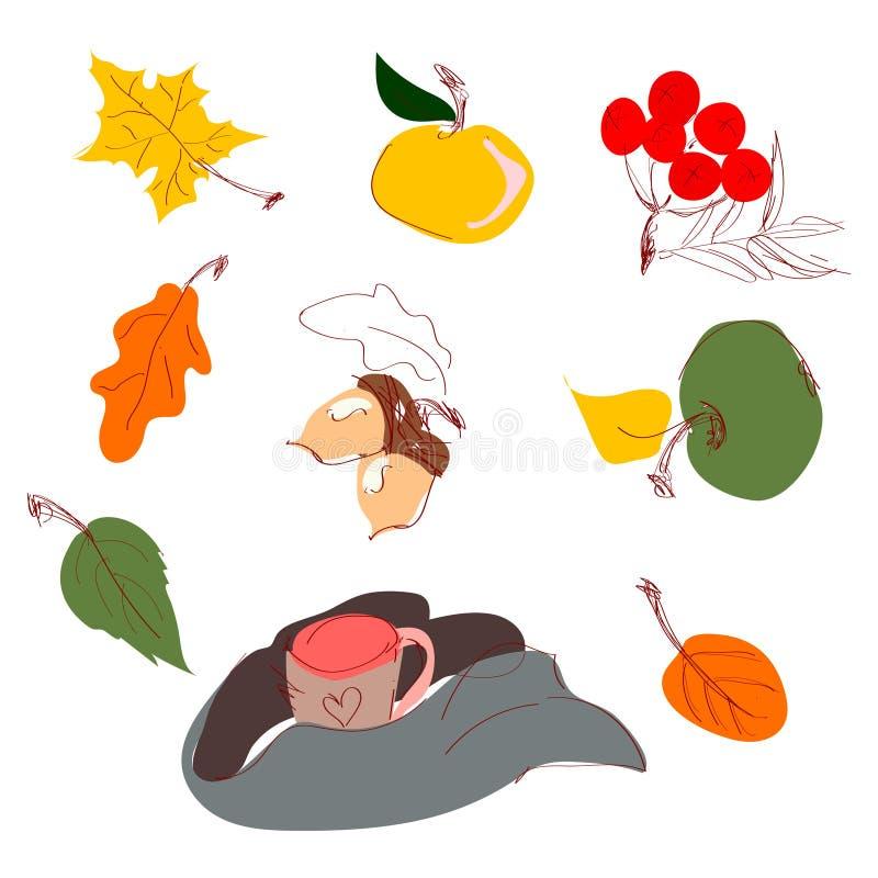 Het de herfstgebladerte verlaat pictogrammeneikel, esdoorn of iep en lijsterbes, mok met een sjaal wordt verpakt die De vectorher stock illustratie