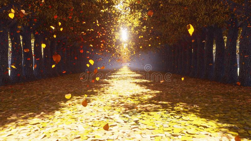 Het de herfstpark De daling van de herfstbladeren van de bomen en de vlieg naar De herfst kleurrijk landschap het 3d teruggeven royalty-vrije illustratie