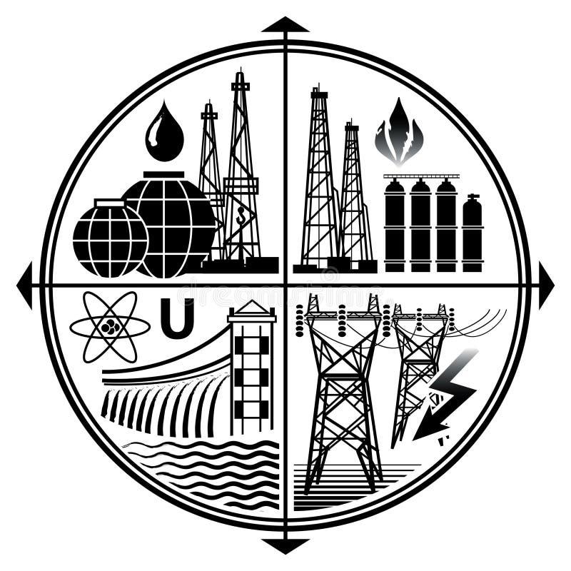 Het de industrieembleem van Energie van middelen voorziet: Olie, Gas, Elektriciteit, Kern en Hydromacht stock illustratie
