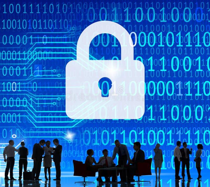 Het de Informatieslot van de veiligheidsgegevensbescherming bewaart Privé Concept stock afbeeldingen
