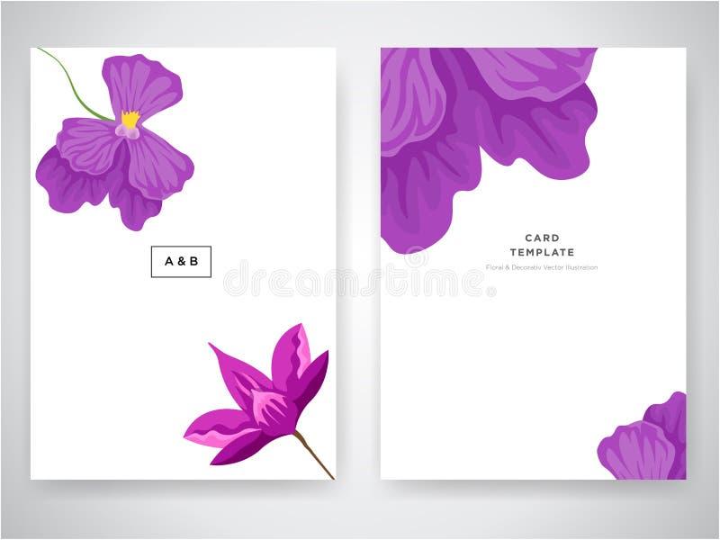 Het de kaartontwerp van de huwelijksuitnodiging met Tropische bloemen, nodigt dankt u, rsvp modern kaartontwerp uit Tropische hel stock illustratie