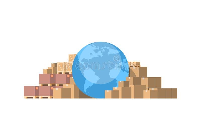 Het de kaartpakket van de Globuswereld verpakt document de vakje geïsoleerde witte vlakte van het achtergrond internationale leve vector illustratie