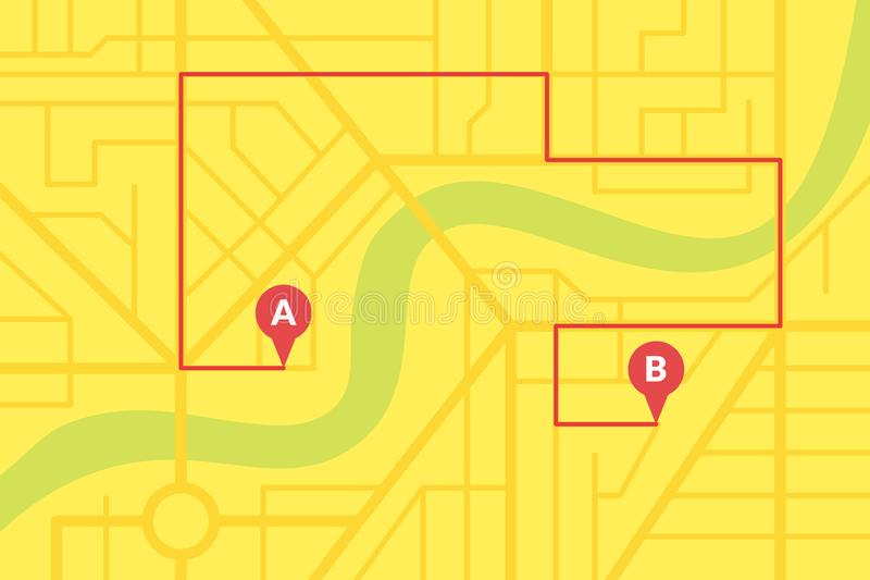 Het de kaartplan van de stadsstraat met GPS-spelden en de navigatieroute van A aan B richten tellers Vector gele kleurenillustrat royalty-vrije stock afbeeldingen