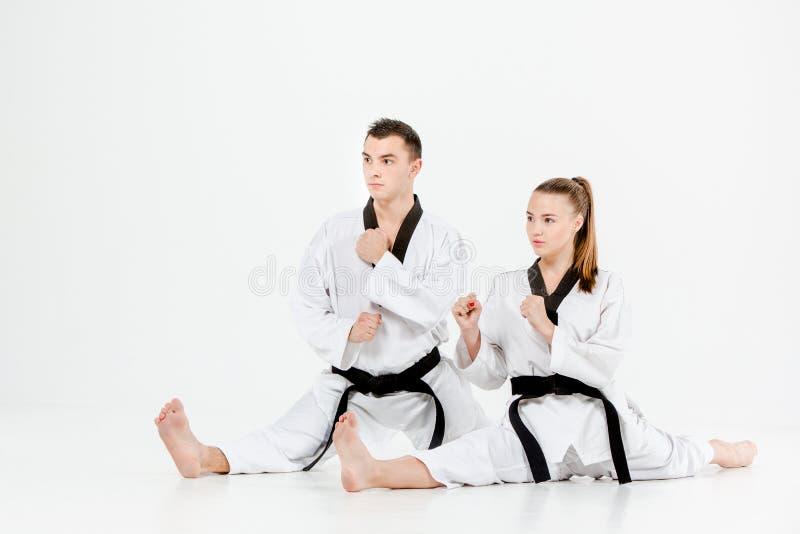 Het de karatemeisje en jongen met zwarte banden stock afbeeldingen