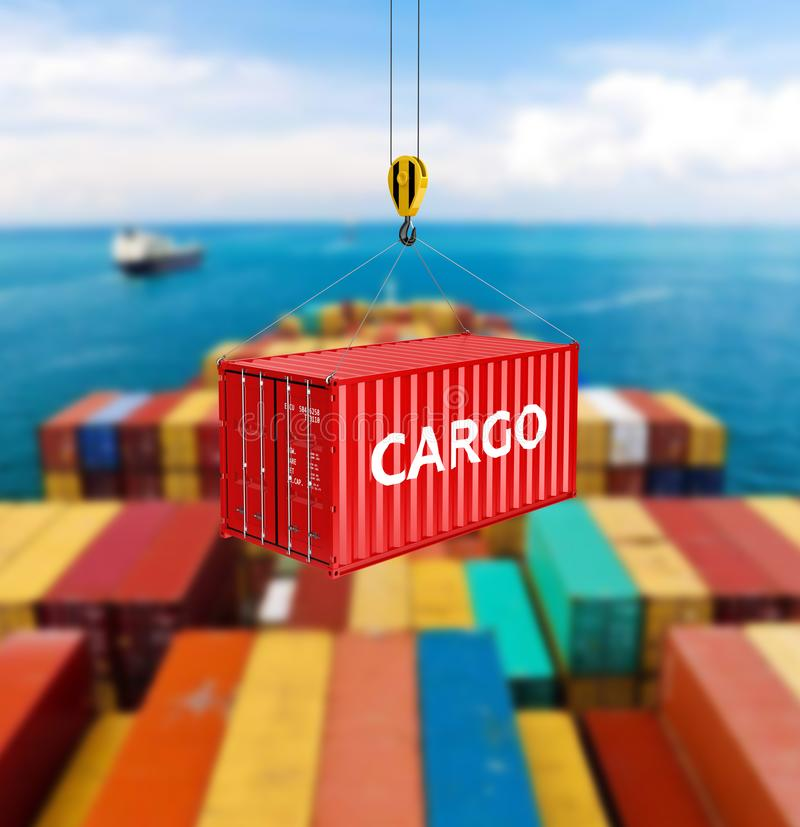 Het de ladingsconcept van de vervoer over zeecontainer de kraan heft de container op 3d op de achtergrond van het opslaggebied royalty-vrije stock foto