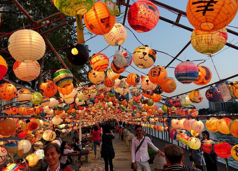 Het de Lantaarnfestival van 2018 in Taiwan stock afbeeldingen