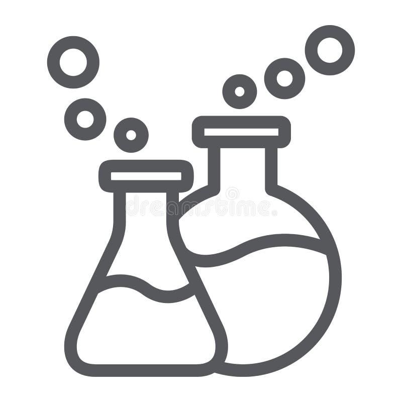 Het de het de lijnpictogram, wetenschap en laboratorium van het laboratoriumglaswerk, chemische flessen ondertekenen, vectorafbee stock illustratie