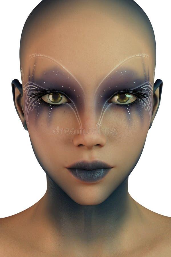 Het de mooie Vreemdeling of Cyberpunk-Meisje isoleerde 3D teruggeeft vector illustratie