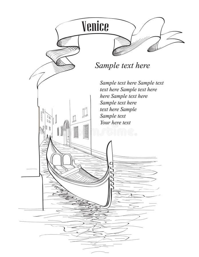 Het de oude gebouwen en kanaal van Venetië met gondel vector illustratie