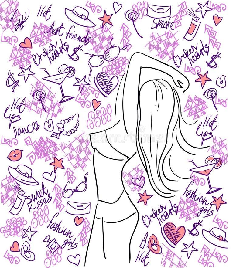 Het de partijleven van de stijl met tan meisjesschets. vector illustratie