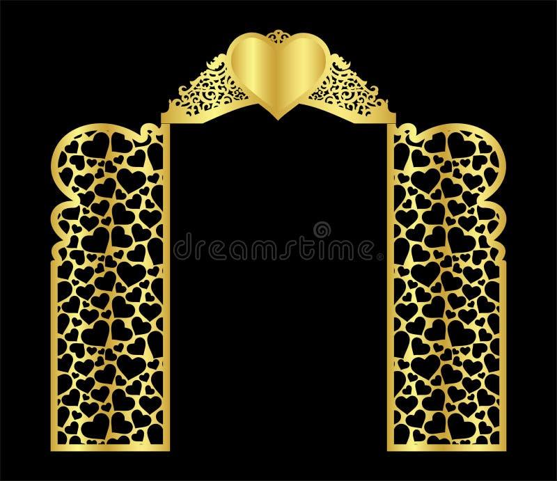 het de poortmalplaatje van de huwelijksboog voor het snijden van van vinyl het decor is een gestileerd openwork patroon van royalty-vrije illustratie