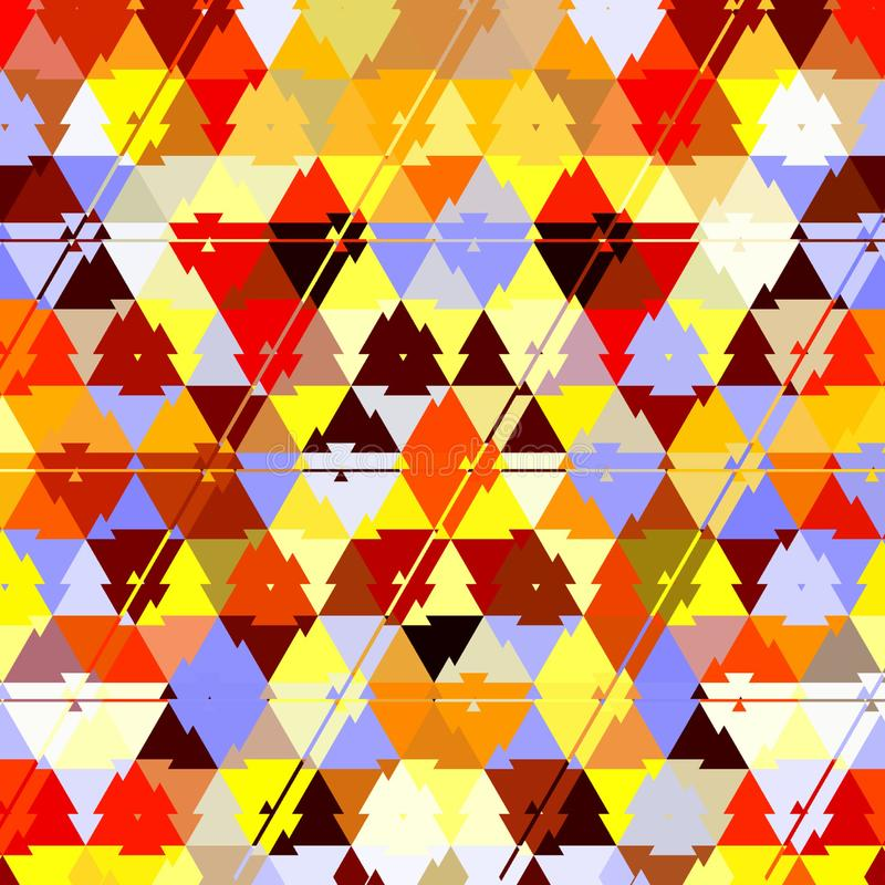Het de regenboogpatroon van de driehoekscamouflage, effect doorbladert, geel zand, in rood, oranje, ehite, bruine, zonnige kleure vector illustratie