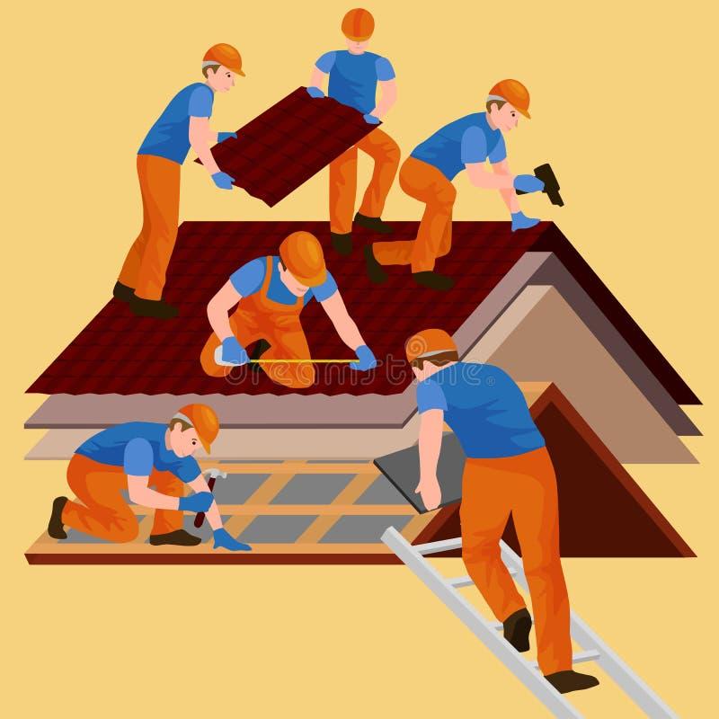 Het de reparatiehuis van de dakbouwvakker, bouwt structuur het bevestigen het huis van de daktegel met arbeidsmateriaal, roofer m stock illustratie