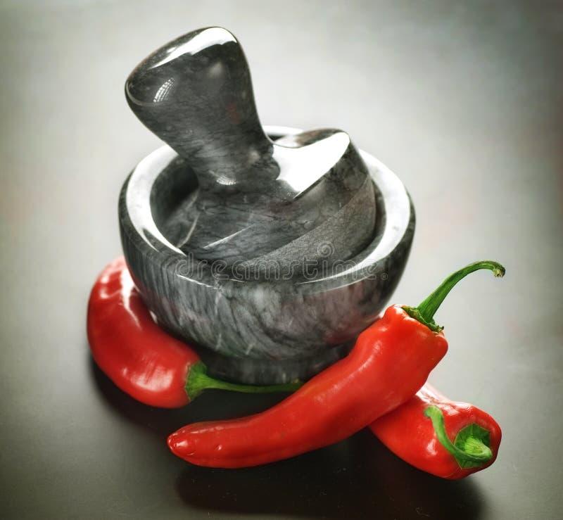 Het de roodgloeiende peper en mortier van de Spaanse peper stock afbeelding