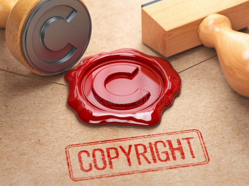 Het de rubberzegel en zegelwas van Copyright stamrp op de ambacht pepe royalty-vrije illustratie