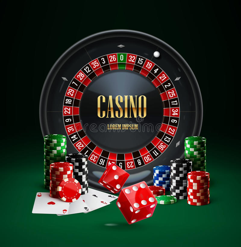 Het de spaandersrood van het roulettecasino dobbelt realistische voorwerpen royalty-vrije illustratie