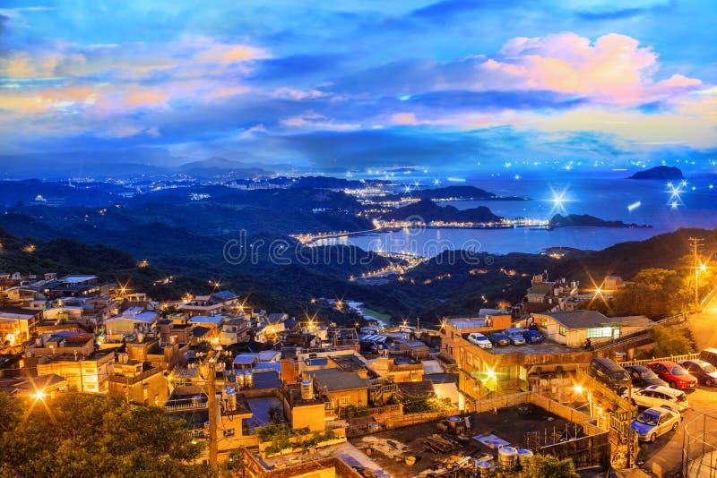 Het de stadslandschap van de kustberg in Jiufen, Taiwan royalty-vrije stock foto