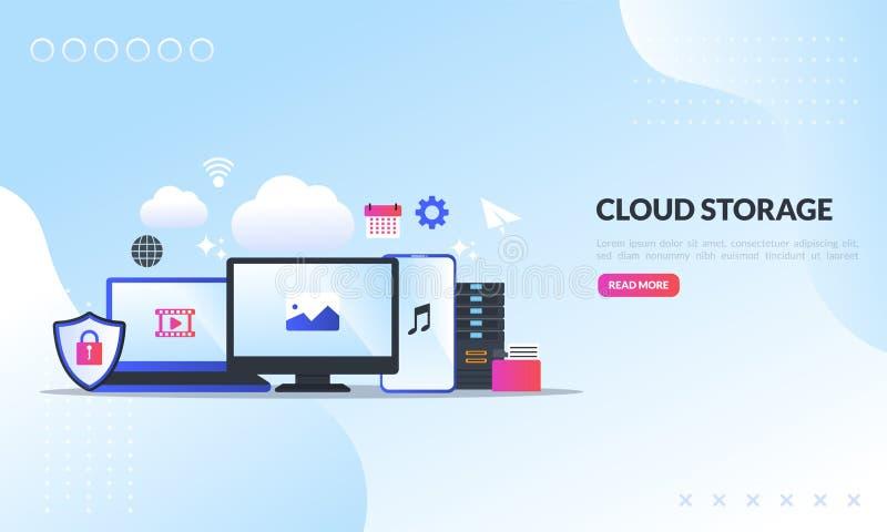 Het de technologieconcept van de wolkenopslag, Veilige gegevens uploadt en downloadt, Ontvangend netwerkservice of van de onlined stock foto