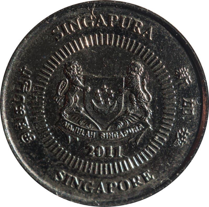 Het de tien-cent van Singapore muntstuk kenmerkt Embleem met datum onderaan en 'Singapore 'aan vier kanten in het Engels, Tamil,  stock afbeelding