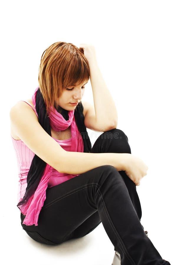 Het de tienermeisje van de depressie schreeuwde eenzaam stock foto's