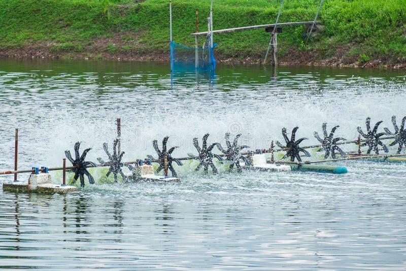 Het de Turbinewiel van het beluchtingstoestelwater vult Zuurstof in de Vijver van het Garnalenlandbouwbedrijf stock foto's