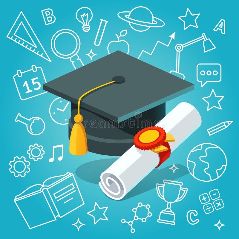 Het de universitaire raad en diploma van het studentenglb mortier royalty-vrije illustratie