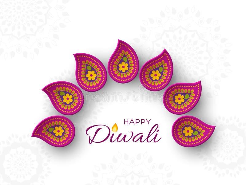 Het de vakantieontwerp van het Diwalifestival met document sneed stijl van Indische Rangoli Purpere kleur op witte achtergrond, i stock illustratie