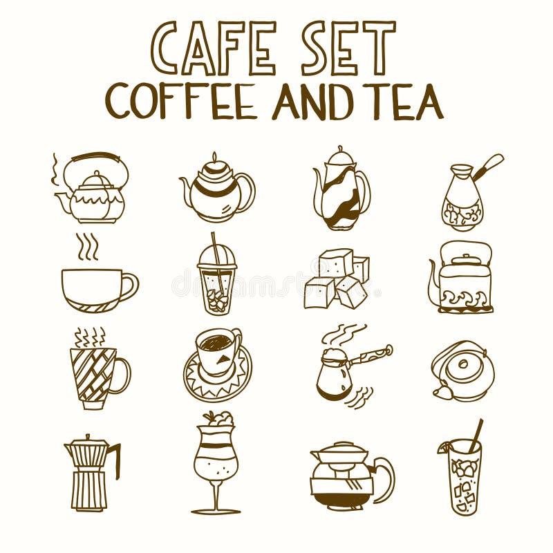 Het de vastgestelde koffie van de koffiekrabbel en ontbijt van de theeochtend stock illustratie
