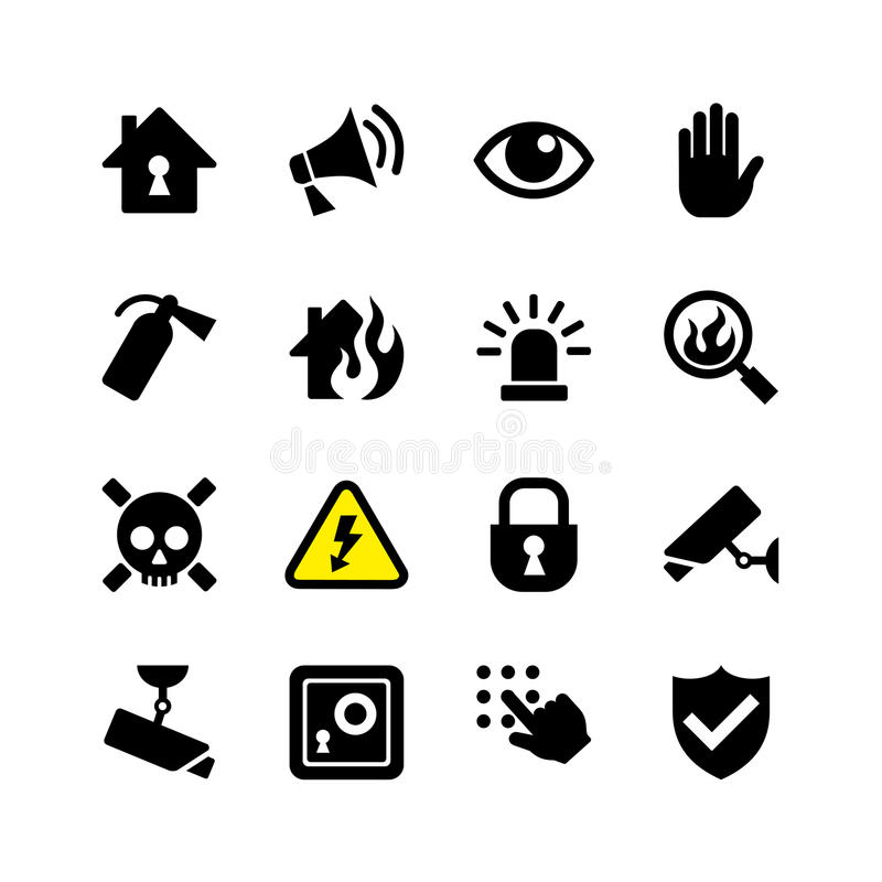 Het de vastgestelde veiligheid en toezicht van het Webpictogram vector illustratie