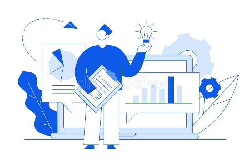 Het de vector vlakke zaken van de lijnstijl en concept van het financiënontwerp met grote moderne mensen, het idee gloeilamp van  royalty-vrije illustratie
