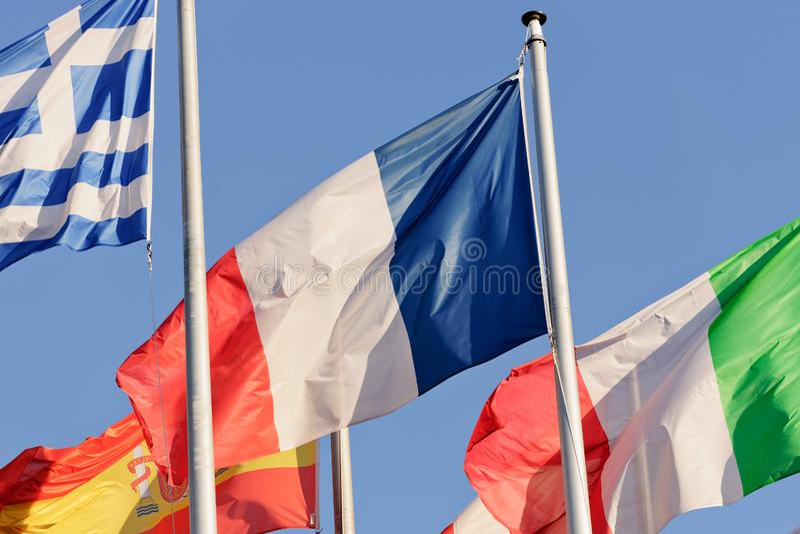 Het de Vlag Europees Parlement van Frankrijk de bouw in Straatsburg royalty-vrije stock foto's