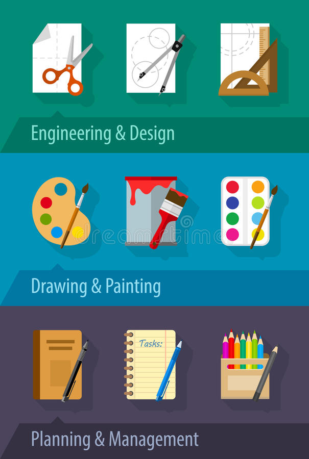 Het de vlakke van de het ontwerpkunst van de pictogrammentechniek planning en beheer royalty-vrije illustratie