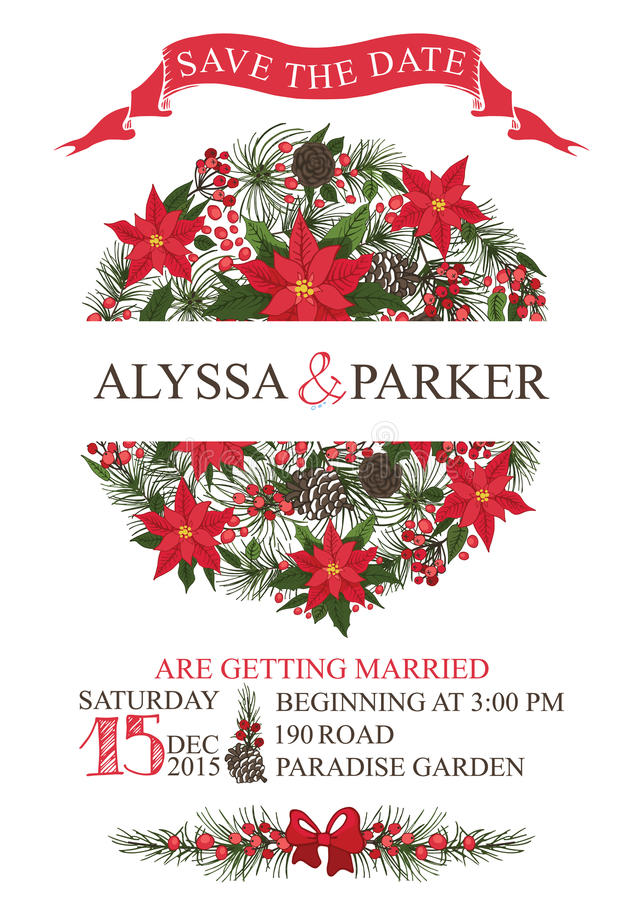 Het de winterhuwelijk bewaart datumkaart Cirkelsamenstelling royalty-vrije illustratie