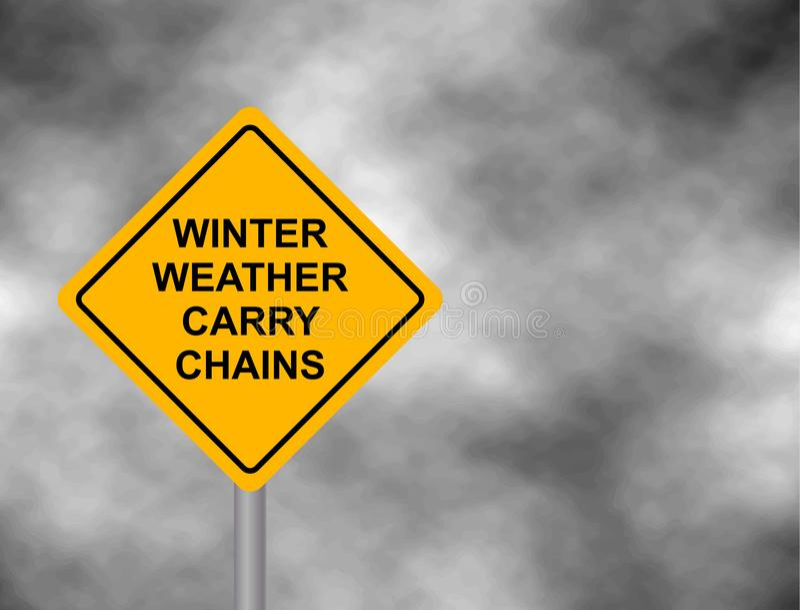 Het de winterweer draagt kettingen die verkeersteken waarschuwen Geel gevaarwaarschuwingsbord, op een grijze waarschuwing van het royalty-vrije illustratie