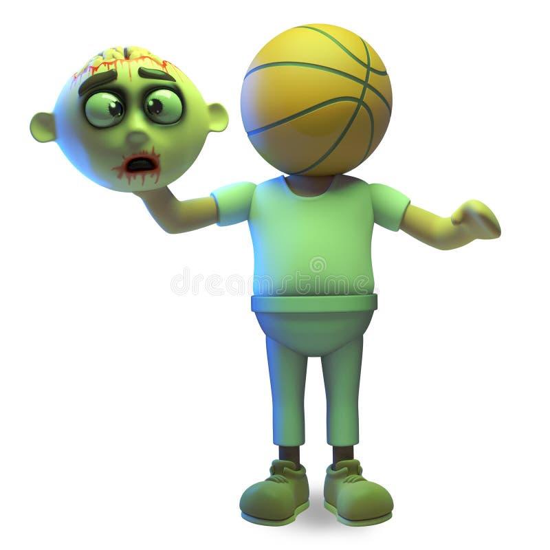 Het de zombiemonster is van beeldverhaalhalloween onthoofd en gehad een basketbal voor een hoofd, 3d illustratie vector illustratie