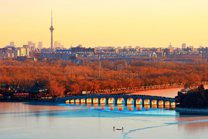 Het de Zomerpaleis, de Winterzonnestilstand, China stock foto's
