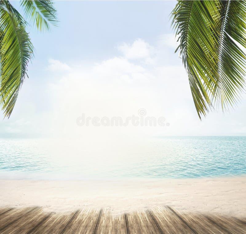 Het de zomerstrand en de oceaanhorizon met tropische 3d palmbladen trekken uit stock foto