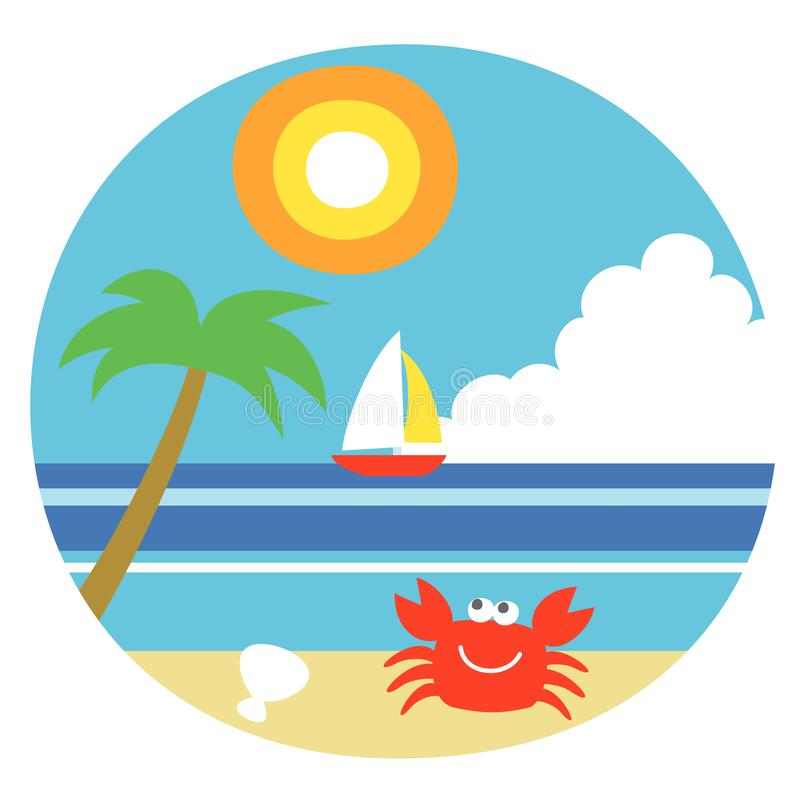 Het de zomerstrand, illustration vector illustratie